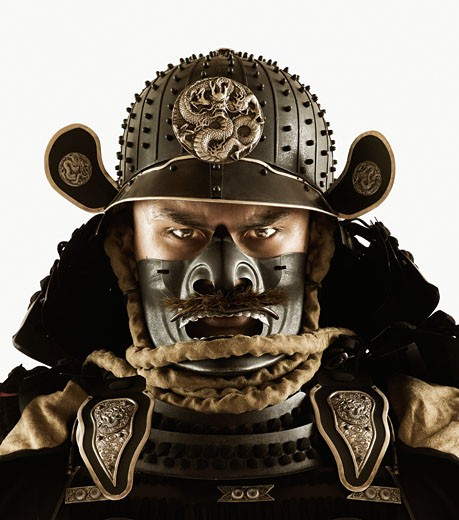 Stock Photo: 1589R-46936 Close up of Asian man in samurai armor