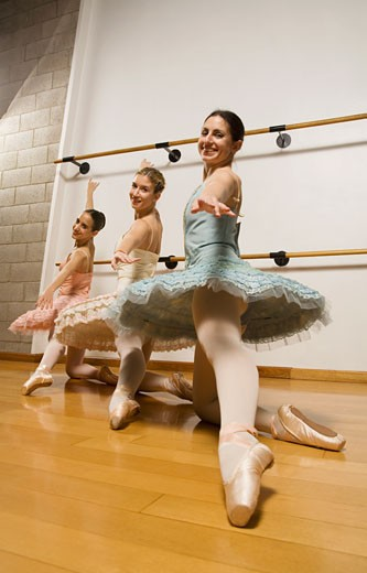 Hispanic female ballet dancers posing : Stock Photo