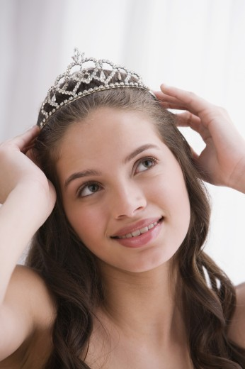 Stock Photo: 1589R-48656 Hispanic teenaged girl wearing tiara
