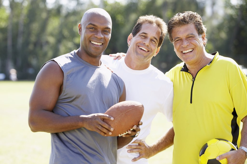 Stock Photo: 1589R-49624 Multi-ethnic men in athletic gear
