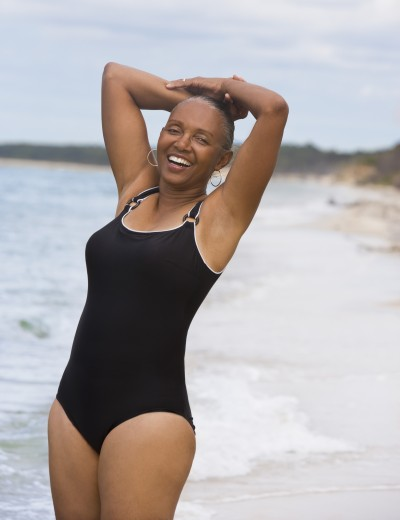 Stock Photo: 1589R-50236 Senior African American woman at beach
