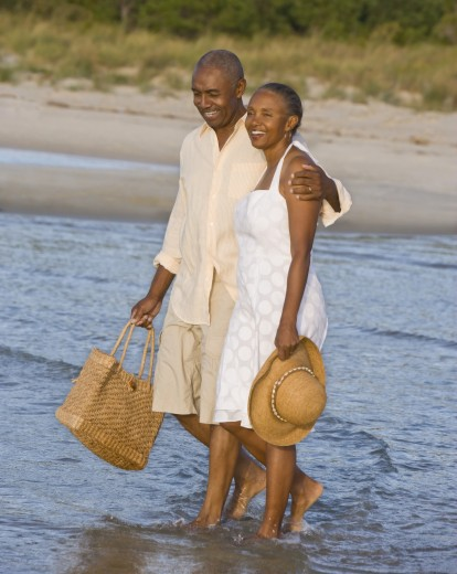 Stock Photo: 1589R-50240 Senior African American couple walking in water
