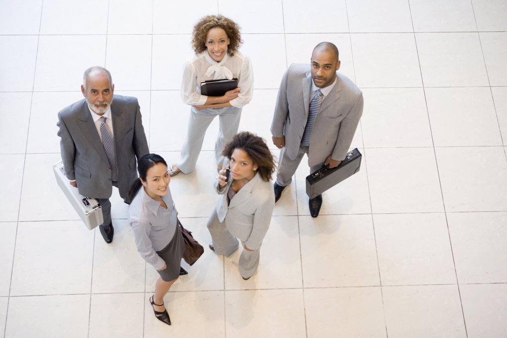 Stock Photo: 1589R-52256 High angle view of Multi-ethnic businesspeople