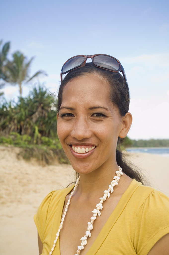Pacific Islander woman at beach : Stock Photo