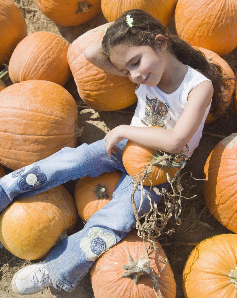 Stock Photo: 1589R-53775 Hispanic girl laying in pumpkin patch