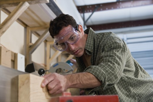 Stock Photo: 1589R-53882 Hispanic man working in wood shop
