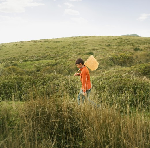 Stock Photo: 1589R-53916 Hispanic boy carrying net in field