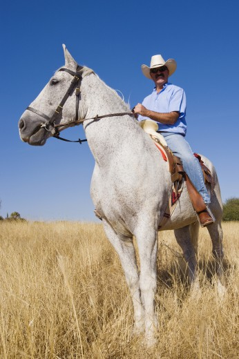 Hispanic man riding horse : Stock Photo