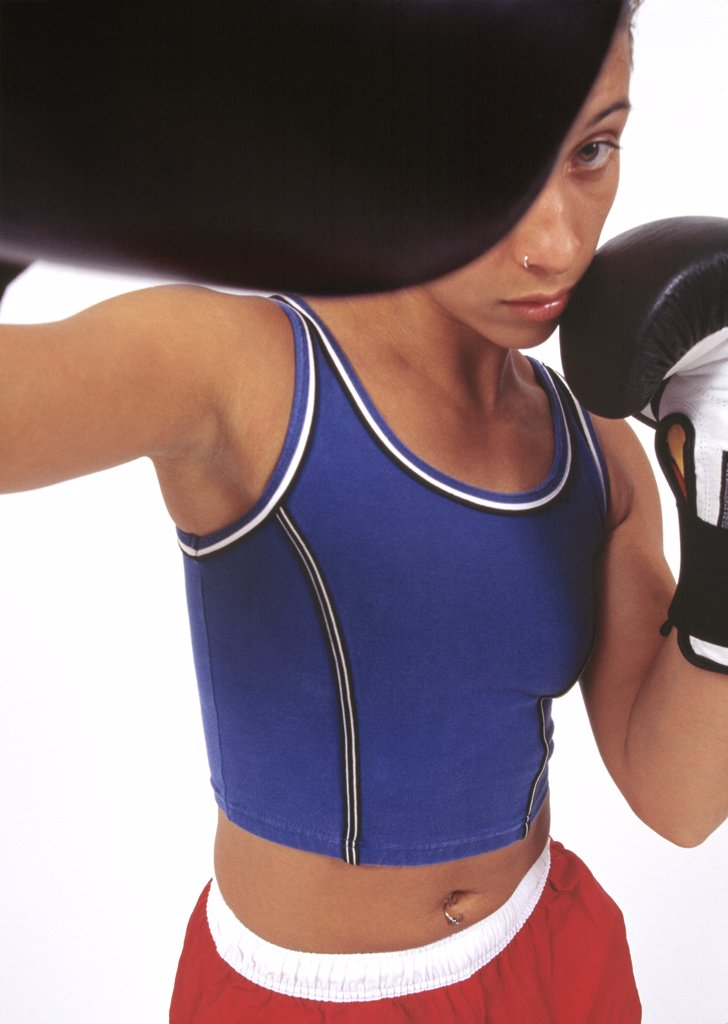 Stock Photo: 1589R-55886 African woman boxing