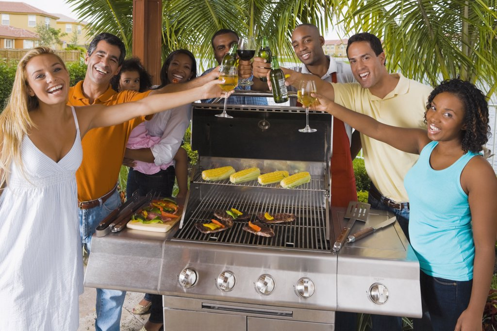Multi-ethnic friends toasting over barbecue grill : Stock Photo