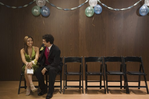 Multi-ethnic teenaged couple at prom : Stock Photo