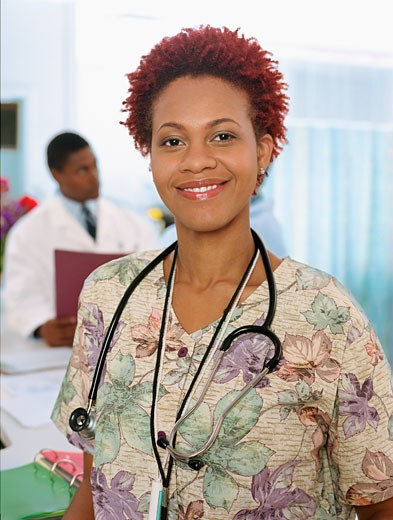Stock Photo: 1589R-58048 African female nurse with stethoscope