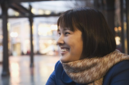 Asian woman wearing scarf : Stock Photo