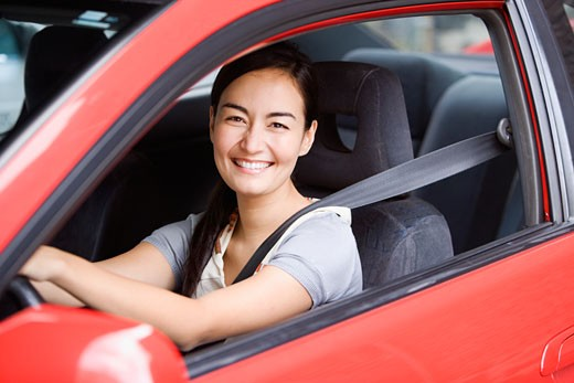 Asian woman driving car : Stock Photo