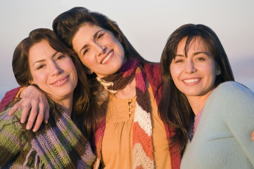 Stock Photo: 1589R-61066 Multi-ethnic women hugging