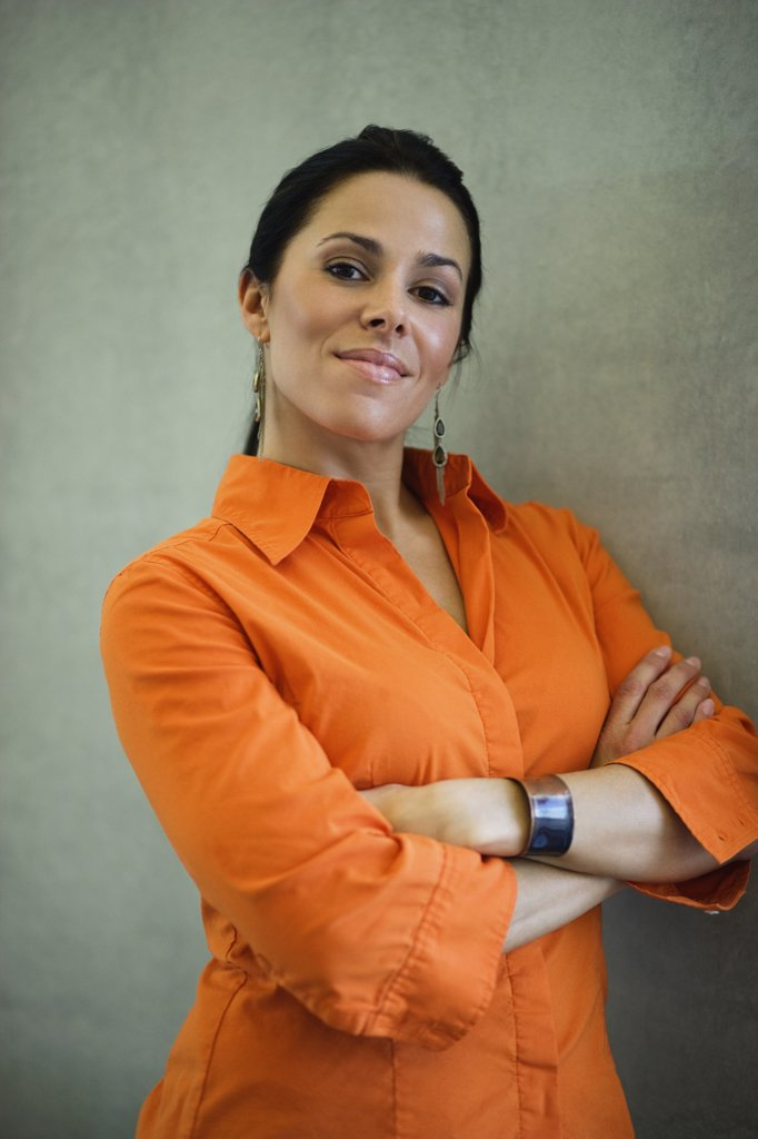 Stock Photo: 1589R-61822 Latin American businesswoman looking confident