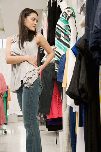 Stock Photo: 1589R-62831 Mixed race woman shopping