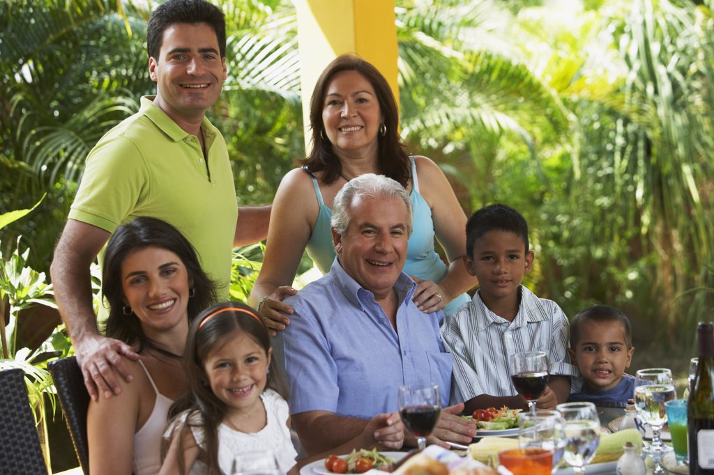 Stock Photo: 1589R-64997 Family enjoying healthy lunch