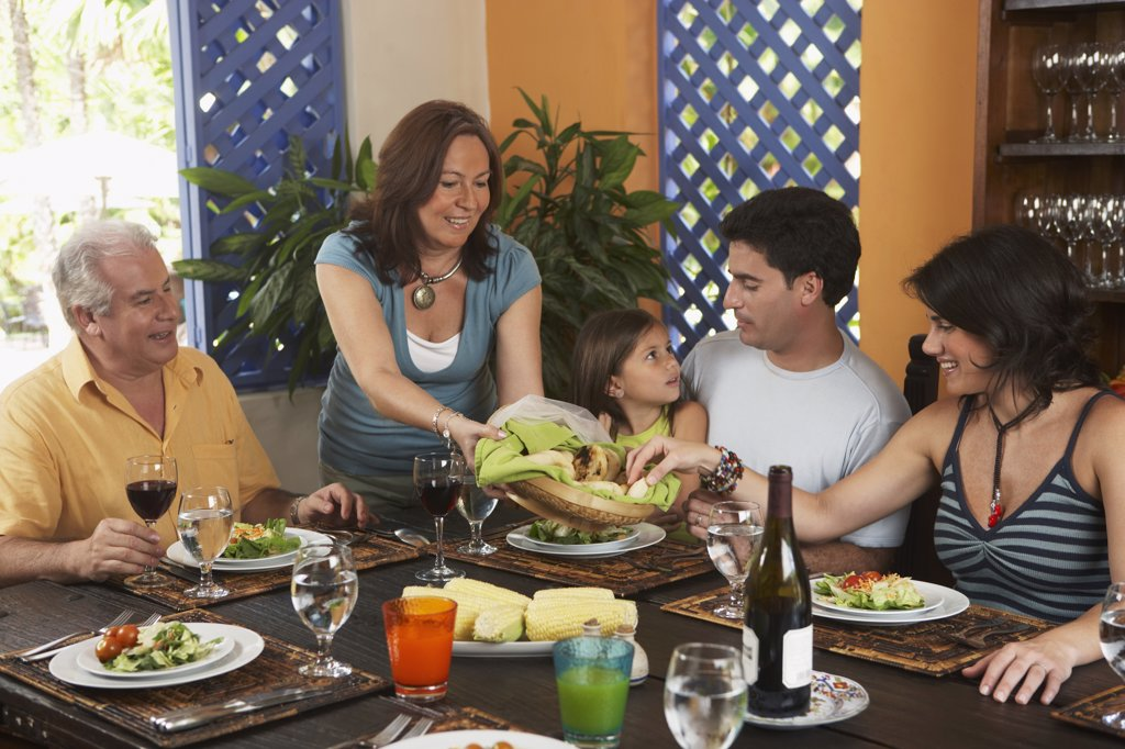 Stock Photo: 1589R-64999 Family enjoying healthy lunch