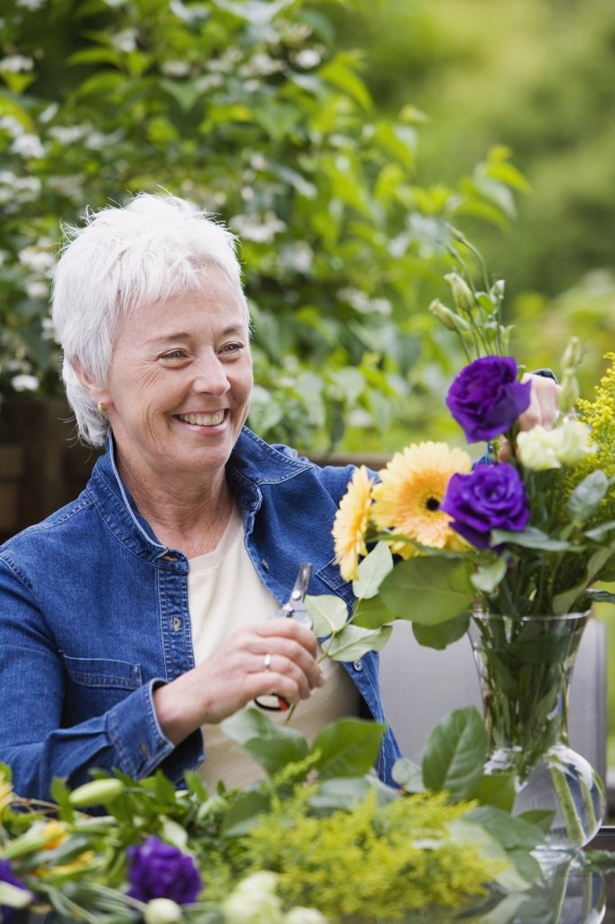 Stock Photo: 1589R-69756 Senior woman smiling and arranging flowers in vase