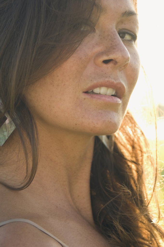 Close up of woman with freckles : Stock Photo