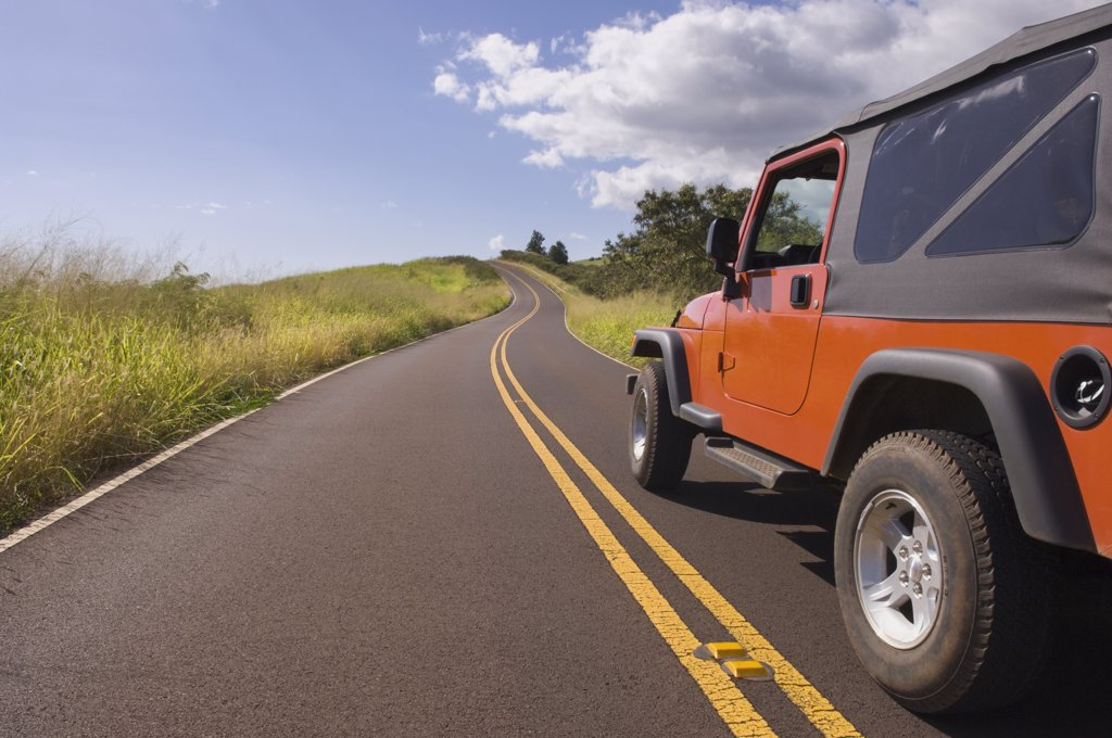 Stock Photo: 1589R-71056 4x4 driving on remote road under blue sky