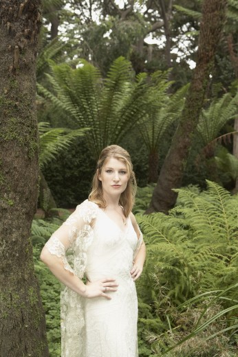 Stock Photo: 1589R-71655 Portrait of woman in evening gown in jungle