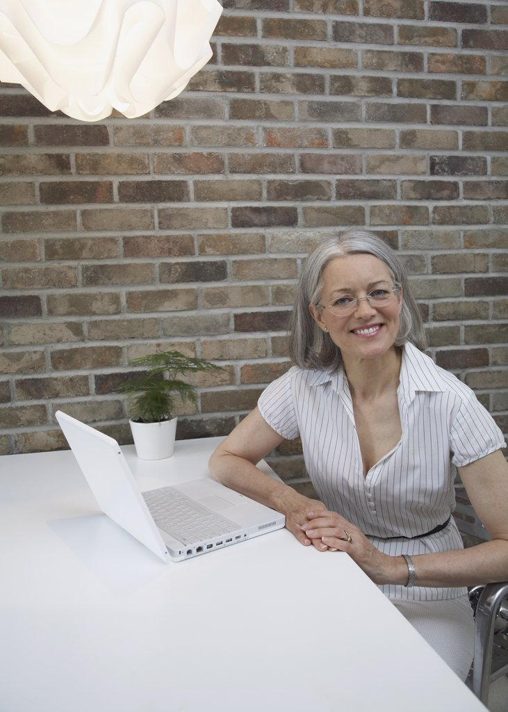 Portrait of senior woman next to laptop : Stock Photo