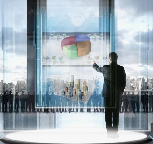 Portuguese businessman giving high tech presentation : Stock Photo