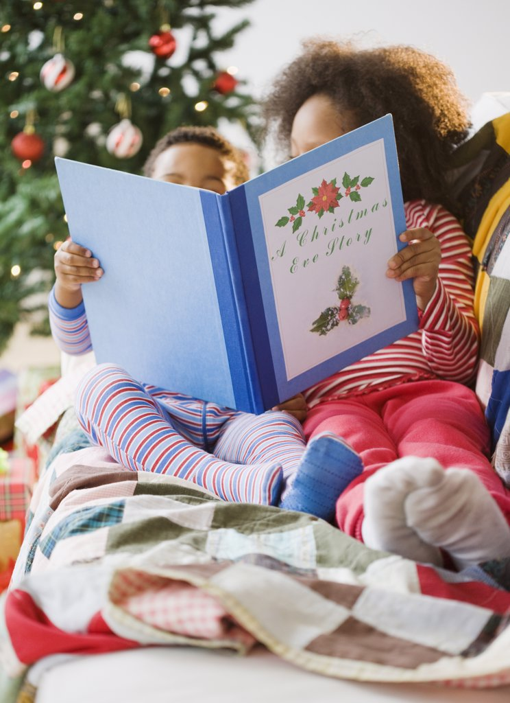 Stock Photo: 1589R-73710 African American brother and sister reading Christmas book