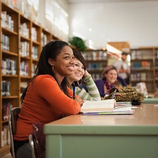Teenagers studying in school library : Stock Photo