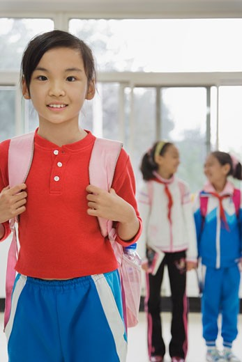 Stock Photo: 1589R-77031 Chinese student wearing backpack