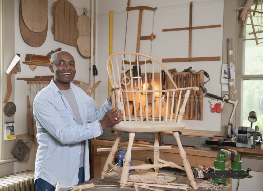 Stock Photo: 1589R-78776 African carpenter in workshop