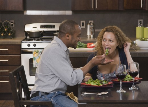 Stock Photo: 1589R-80104 African couple eating healthy meal