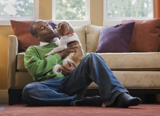 Stock Photo: 1589R-80114 African man playing with dog