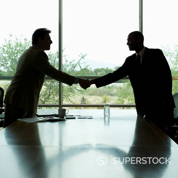 Stock Photo: 1589R-85667 Businessmen shaking hands in conference room
