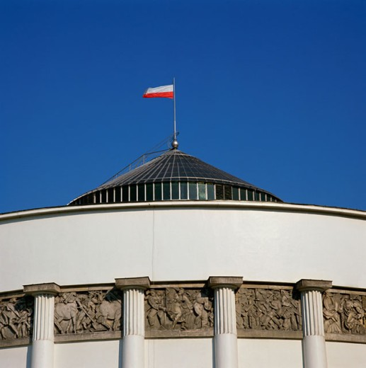 High section view of a government building, Sejm, Warsaw, Poland : Stock Photo