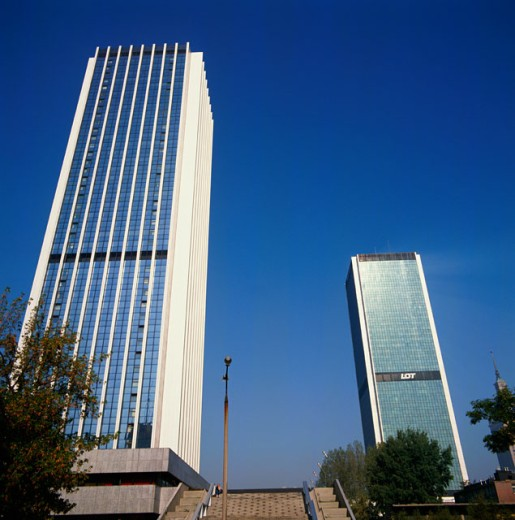 Low angle view of skyscrapers, Warsaw, Poland : Stock Photo
