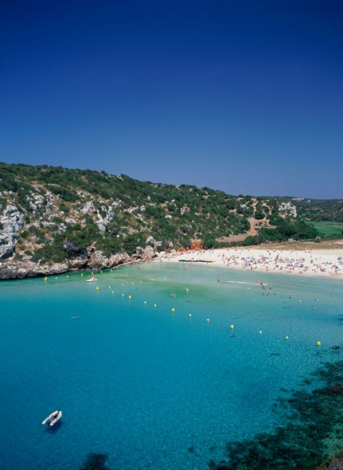 High angle view of a beach, Calan Porter, Minorca, Balearic Islands, Spain : Stock Photo