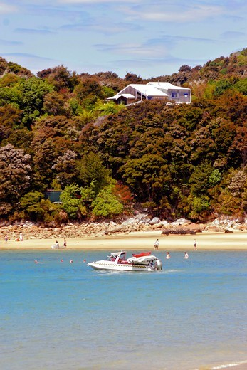 Stock Photo: 1590-427 New Zealand, Abel Tasman National Park, Tasman Bay, Anchorage Beach