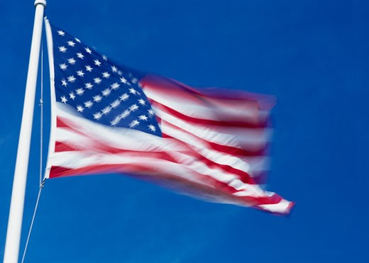 Stock Photo: 1590R-104 Low angle view of an American flag
