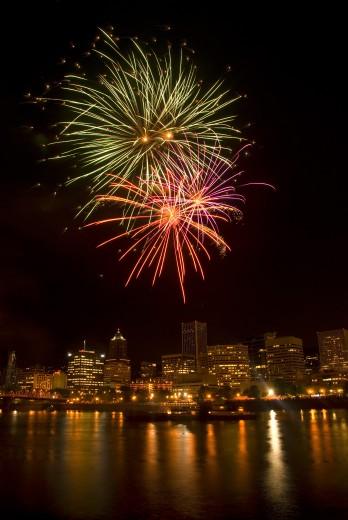 Stock Photo: 1596-1078 Low angle view of fireworks display in the sky at night, Cinco de Mayo Fiesta, Eastside Esplanade, Portland, Oregon, USA