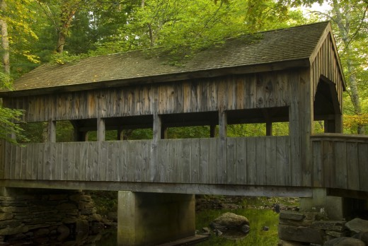 Stock Photo: 1596-1201 Covered bridge across a river, Devils Hopyard State Park, East Haddam, Connecticut, USA