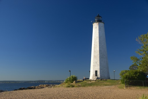 Stock Photo: 1596-1205 Lighthouse on the coast, New Haven Lighthouse, Lighthouse Point Park, New Haven, Connecticut, USA