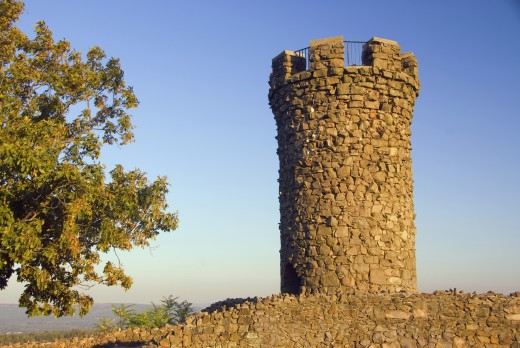 Stone observation tower, Castle Craig, Hubbard Park, Meriden, Connecticut, USA : Stock Photo