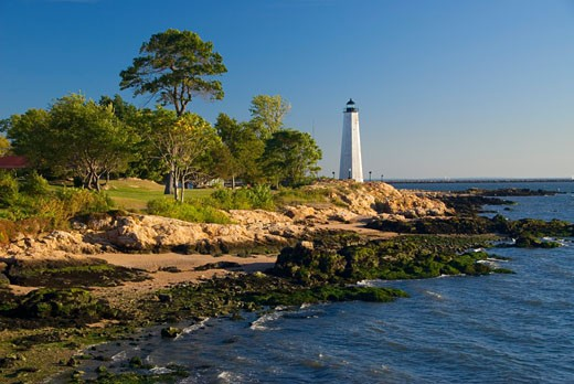 Stock Photo: 1596-1217A Lighthouse on the coast, New Haven Lighthouse, Lighthouse Point Park, New Haven, Connecticut, USA