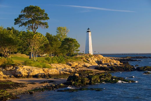 Stock Photo: 1596-1217B Lighthouse on the coast, New Haven Lighthouse, Lighthouse Point Park, New Haven, Connecticut, USA