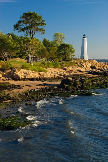 Lighthouse on the coast, New Haven Lighthouse, Lighthouse Point Park, New Haven, Connecticut, USA : Stock Photo