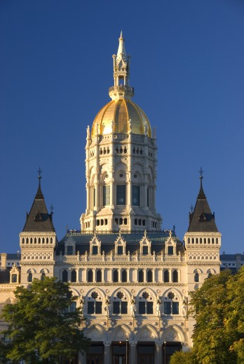Stock Photo: 1596-1247 Low angle view of a government building, Connecticut State Capitol, Bushnell Park, Hartford, Connecticut, USA