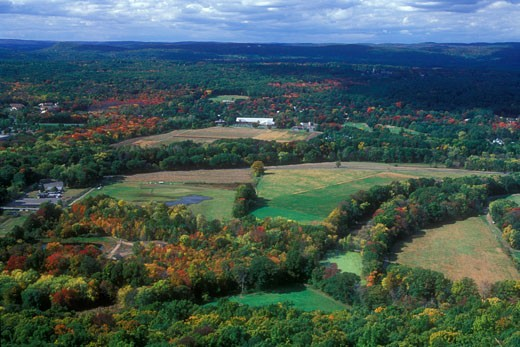 Stock Photo: 1596-1292 Panoramic view of a valley, Farmington River Valley, Talcott Mountain State Park, Bloomfield, Connecticut, USA